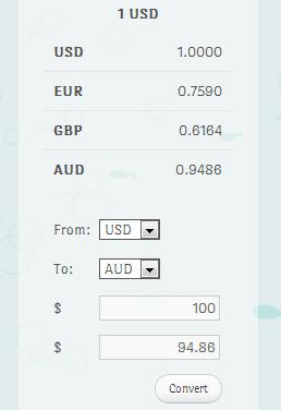 货币转换短代码