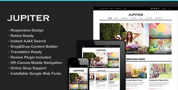 Jupiter v1.9-自适性wordpress杂志主题