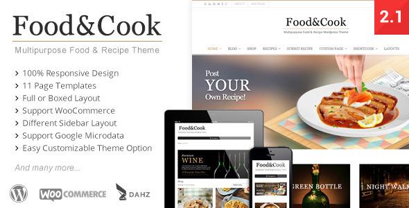 多目的WordPress食谱主题Food & Cook