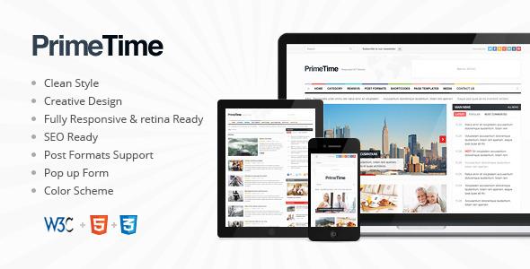 简洁自适性WordPress杂志主题PrimeTime v.1.7.2