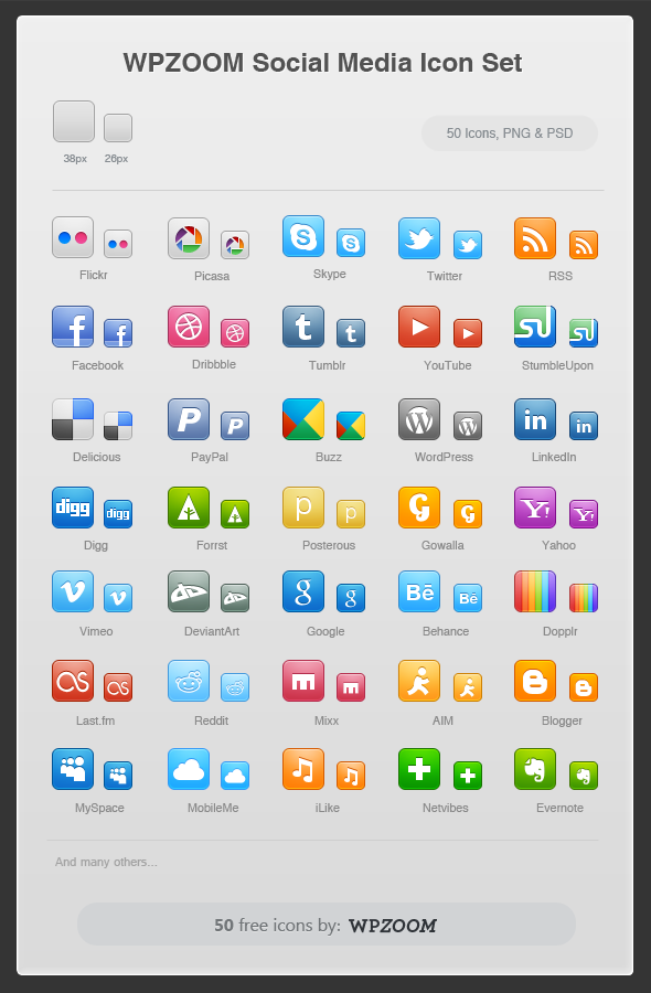 Free Icons Social Media by WPZOOM