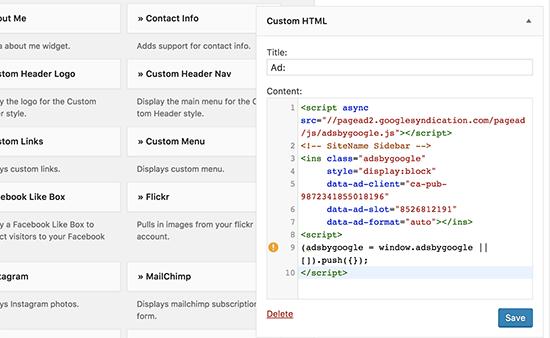 在WordPress中的自定义HTML小部件中添加您的AdSense广告代码