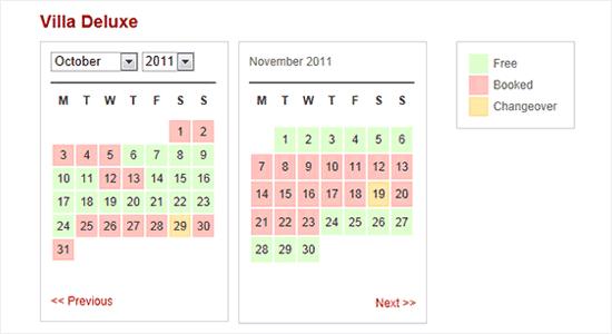 WP简单的预订日历