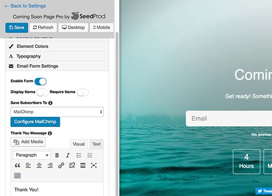 电子邮件注册表单