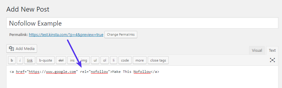 将nofollow属性添加到链接的HTML
