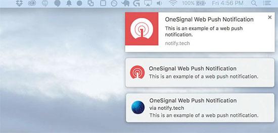 桌面上显示的网络推送通知