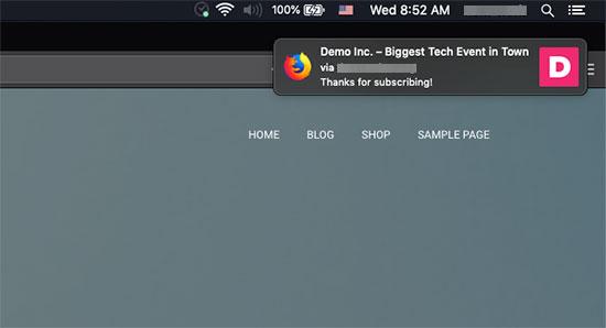 通过Firefox在Mac上显示欢迎通知