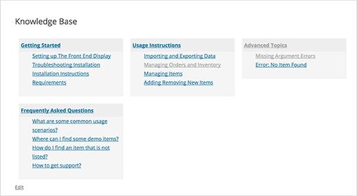 WordPress中的样式知识库页面