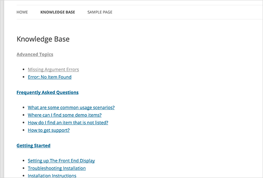 简单的知识库部分没有CSS