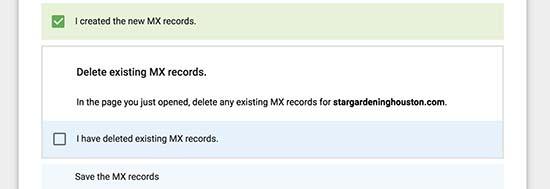 已创建MX记录