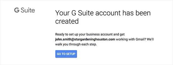 G Suite帐户设置已完成