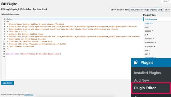 WordPress中的插件编辑器