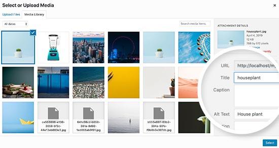 在WordPress中更改图像标题