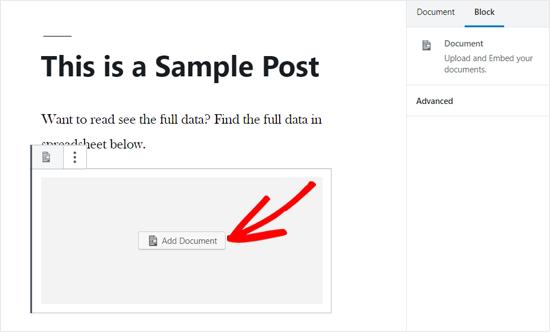 在WordPress Post Editor中添加文档选项