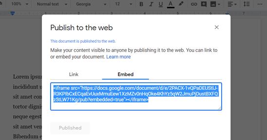 嵌入Google Doc Code