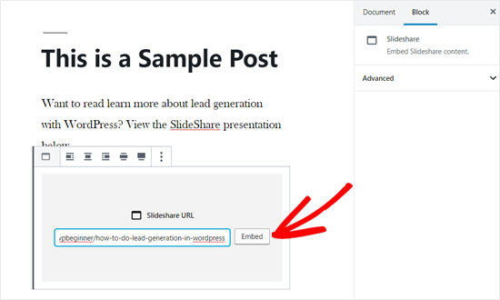 在WordPress Post中嵌入SlideShare URL