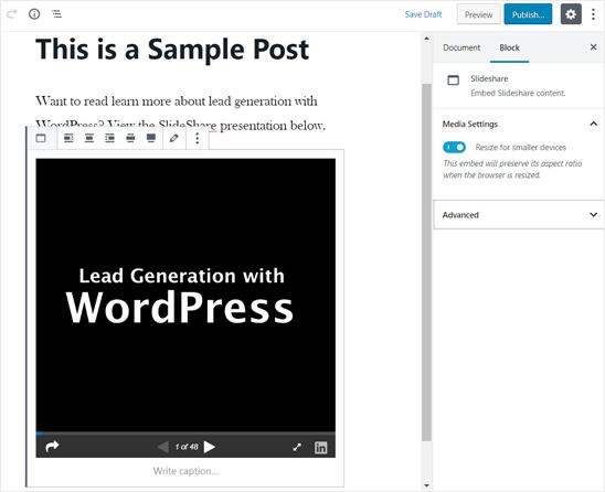 在WordPress编辑器中添加了SlideShare演示文稿