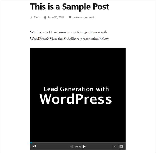 在WordPress中添加SlideShare演示文稿 - 预览