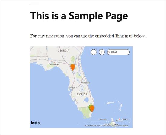 Bing Map使用插件嵌入WordPress