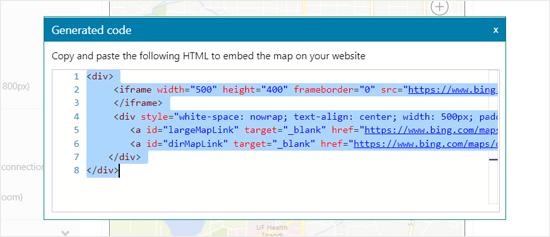生成Bing地图的嵌入代码