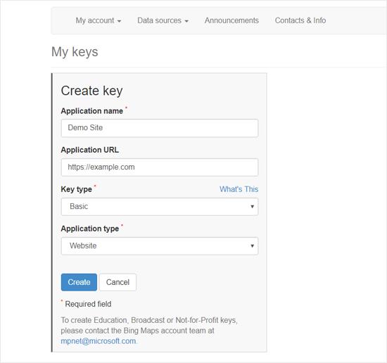创建Bing Map API密钥以嵌入WordPress