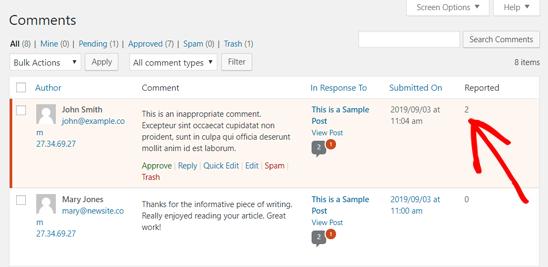 报道的WordPress审核评论