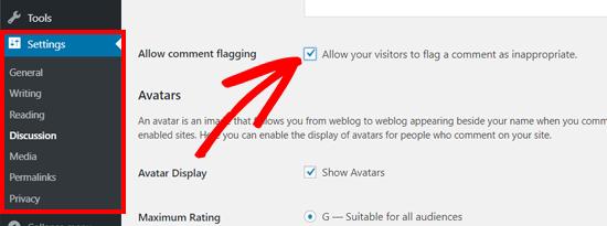 允许在WordPress讨论设置中注释标记选项
