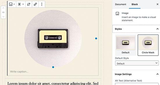 WordPress 5.3中的图像块设置