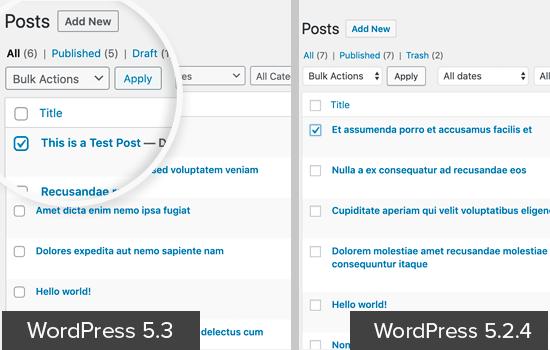 WordPress 5.3 UI中的表单字段