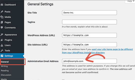 更改管理员电子邮件地址