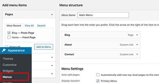将博客页面链接添加到导航菜单