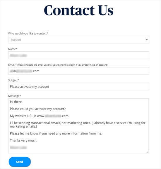 联系表格消息发送至Sendinblue以请求激活帐户