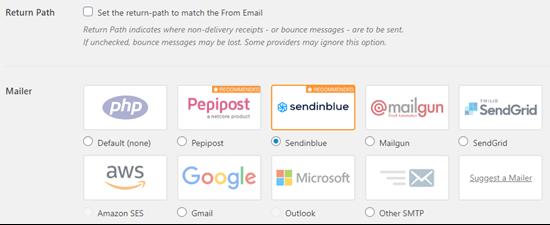 选择Sendinblue作为WP Mail SMTP中的邮件