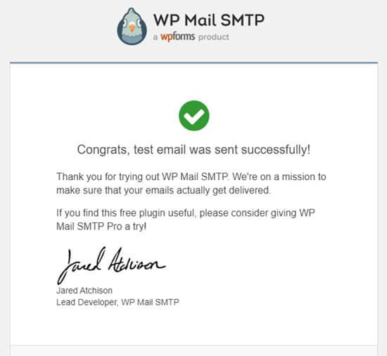 来自WP Mail SMTP的测试电子邮件