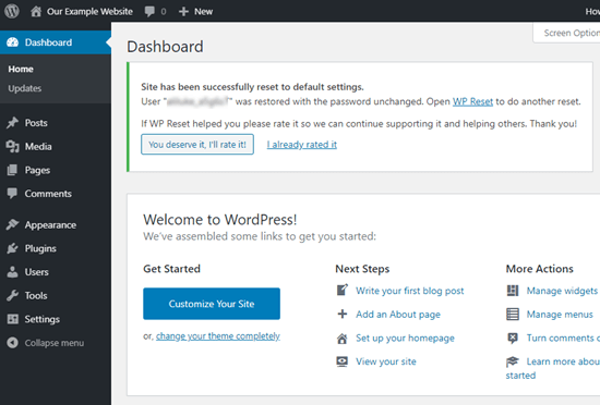 WPReset的消息确认您已成功重置WordPress网站