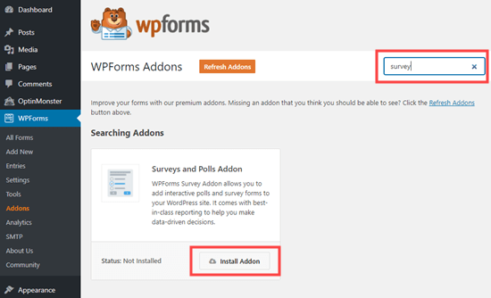 安装WPForms的Survey and Polls插件