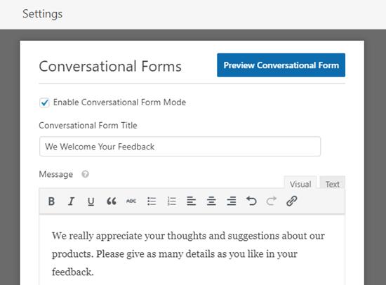 输入对话形式的标题和消息