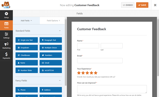 WPForms编辑器中的Survey模板