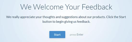 """会话式问卷-用户单击""""开始""""按钮开始"""