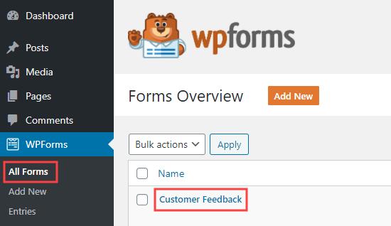 在WPForms中编辑调查表