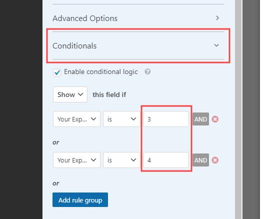 在WPForms中打开和编辑字段的条件逻辑
