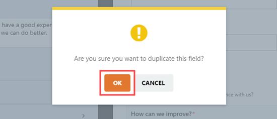 单击确定按钮继续并重复该字段
