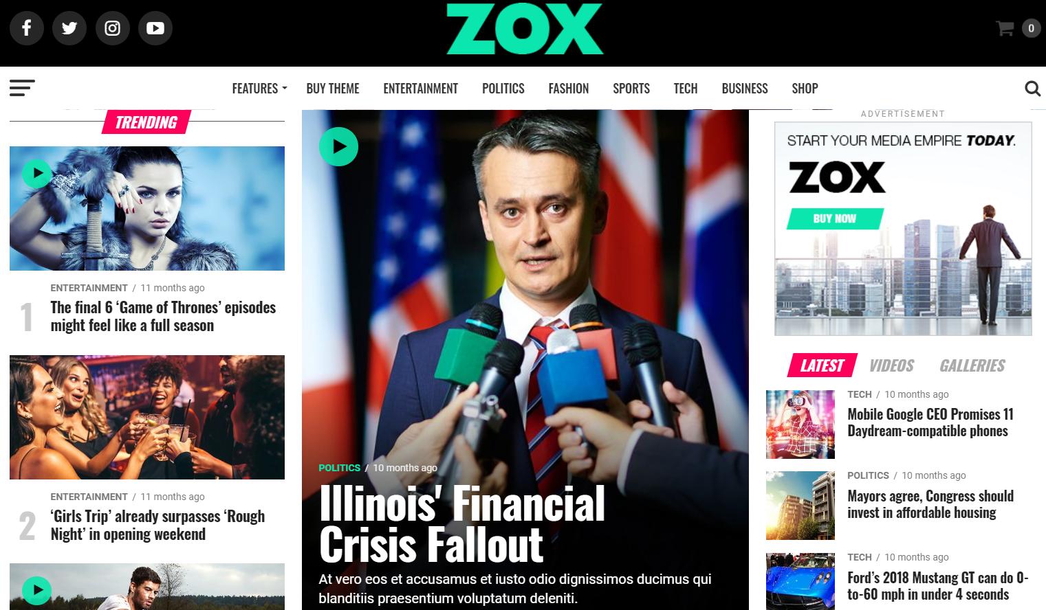 Zox News v3.5.0- 专业的WordPress新闻和杂志主题