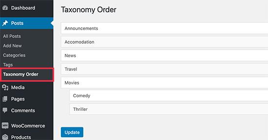 如何在WordPress中更改分类顺序