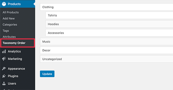 在WooCommerce中重新排序产品类别