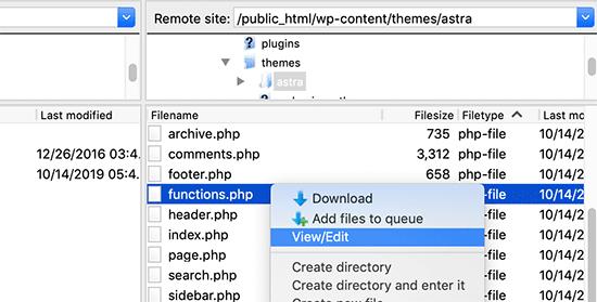 编辑functions.php文件