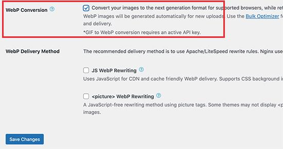 EWWW中的WebP转换