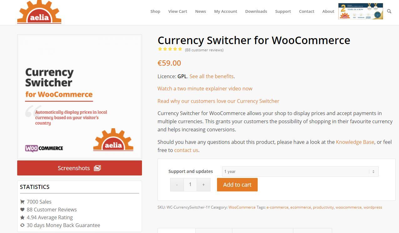 Currency Switcher v4.10.1- 用于WooCommerce货币转换器