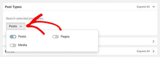 选择发布选项以进行类别搜索